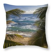 Palm Trees On Isabel Beach In Puerto Rico Throw Pillow by Bryan Mullennix