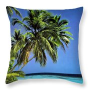 Palm Trees On Little Palm Island Filtered Throw Pillow