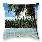 Palm Trees On The Beach, Rangiroa Throw Pillow