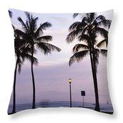 Palm Trees On The Beach, Waikiki Throw Pillow