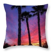 Palm Trees Sunset Throw Pillow