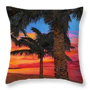 Palme Al Tramonto Throw Pillow