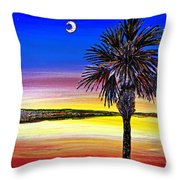 Palmetto Sunset Moon And Stars Throw Pillow