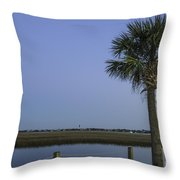 Palmetto View Of Lighthouse Throw Pillow