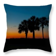 Palms At Clear Dawn Throw Pillow