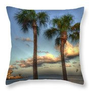 Palms At The Pier Throw Pillow