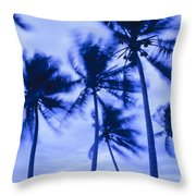 Palms In Storm Wind-bora Bora Tahiti Throw Pillow