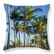 Palms On Hawaii Beach Trail Throw Pillow