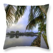 Palms Over The Waterway Throw Pillow