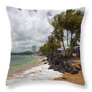 Palms Trees Along Luquillo Beach Throw Pillow