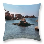 Palombaggia Beach And Rocks, Corsica Throw Pillow