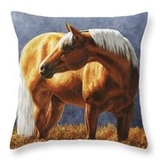 Palomino Horse - Gold Horse Meadow Throw Pillow by Crista Forest