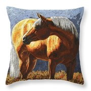 Palomino Horse - Variation Throw Pillow by Crista Forest