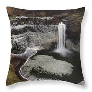 Palouse Falls In Winter Throw Pillow