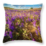 Palouse Falls Wildflowers Throw Pillow