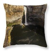 Palouse Falls With Rainbow Throw Pillow