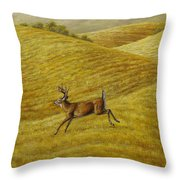 Palouse Farm Whitetail Deer Throw Pillow by Crista Forest