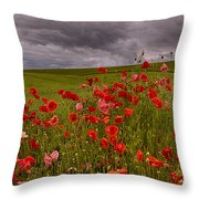 Palouse Poppies Throw Pillow