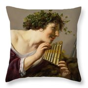 Pan Playing His Pipes Throw Pillow by Paulus Moreelse