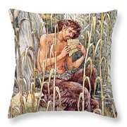 Pan Playing His Pipes Throw Pillow