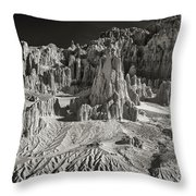 Panaca Sandstone Formations In Black And White Nevada Landscape Throw Pillow