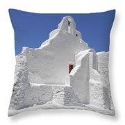 Panagia Paraportiani Church Of Mykonos Throw Pillow