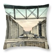 Panama Canal Locks Throw Pillow
