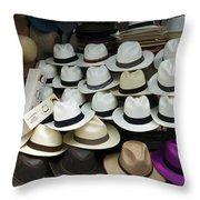 Panama Hats In Ecuador Throw Pillow