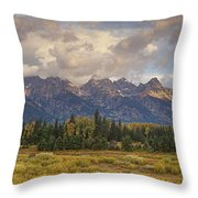 Panaroma Clearing Storm On A Fall Morning In Grand Tetons National Park Throw Pillow