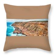 Panaromic Photo Of Red Bluff Beach Throw Pillow