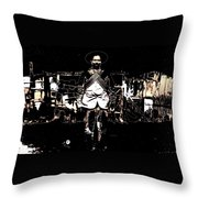 Pancho Villa With Cross Thatched Bandolier  Rebel Camp No Date Or Locale Throw Pillow