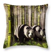 Pandas In A Bamboo Forest Throw Pillow