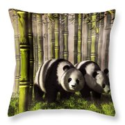 Pandas In A Bamboo Forest Throw Pillow