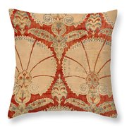 Panel Of Red Cut Velvet With Carnation Throw Pillow