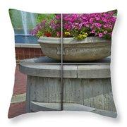 Sample Paneled Concrete Flower Pot Throw Pillow