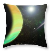 Panet And Comet Throw Pillow
