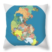Pangaea Politica By Massimo Pietrobon Throw Pillow