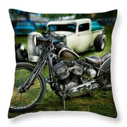 Panhead Harley And Ford Pickup Throw Pillow