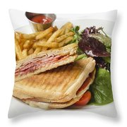 Panini With Ham Melted Cheese French Fries And Salad Throw Pillow