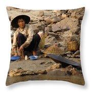 Panning For Gold Mekong River 1 Throw Pillow