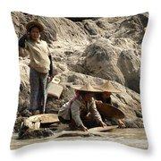 Panning For Gold Mekong River 2 Throw Pillow