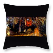 Pano Of A Colorful Cave Throw Pillow