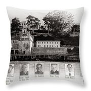 Panorama Alcatraz Infamous Inmates Black And White Throw Pillow