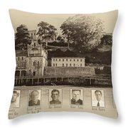 Panorama Alcatraz Infamous Inmates Sepia Throw Pillow
