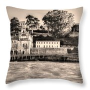 Panorama Alcatraz Shaky Sepia Throw Pillow