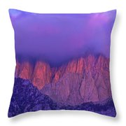Panorama Alpenglow On Mount Whitney Eastern Sierras California Throw Pillow