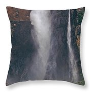 Panorama Angel Falls In Canaima National Park Venezuela Throw Pillow