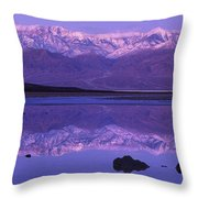 Panorama Badwater And The Panamint Range At Sunrise Death Valley Throw Pillow