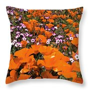 Panorama Califonria Poppies And Hollyleaf Gilia Wildflowers Throw Pillow
