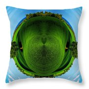 Panorama Earth Of A Green Meadow And Blue Sky Throw Pillow